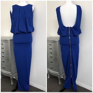 NWT CARIBBEAN QUEEN ROYAL BLUE ZIPPER DRESS